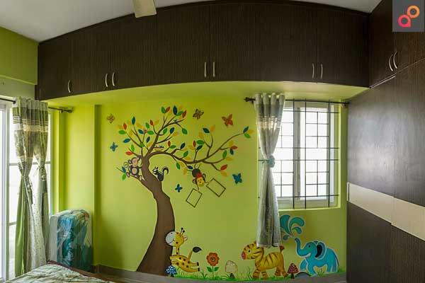 living room wall painting stencil idea